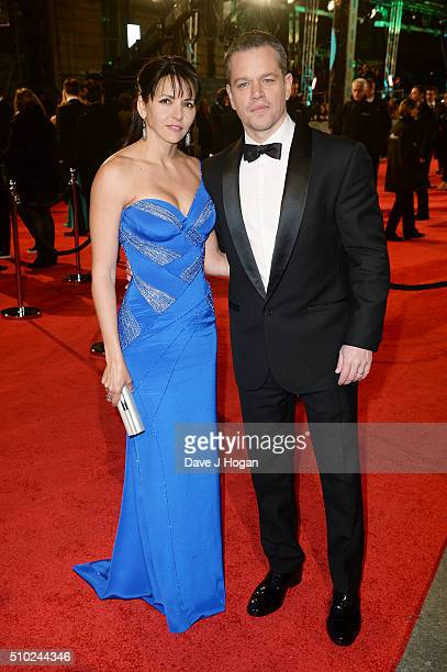 Matt Damon and Luciana Damon attend the EE British Academy Film Awards at The Royal Opera House on February 14 2016 in London England