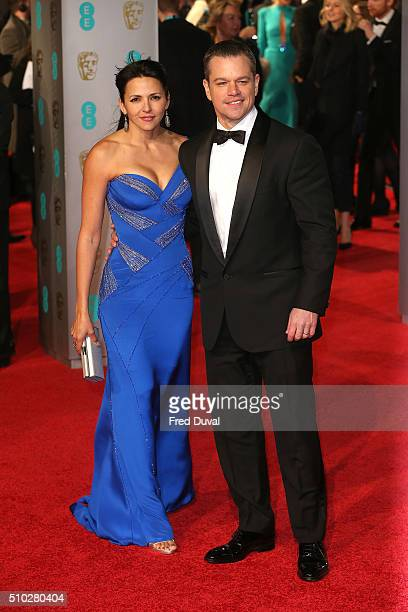 Matt Damon and Luciana Damon attend the EE British Academy Film Awards at The Royal Opera House on February 14, 2016 in London, England.