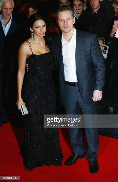 Matt Damon and Luciana Damon attend 'The Monuments Men' Milan Premiere on February 10, 2014 in Milan, Italy.