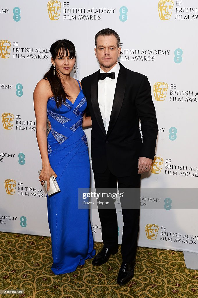 Matt Damon (R) and Luciana Damon attend the official After Party Dinner for the EE British Academy Film Awards at The Grosvenor House Hotel on February 14, 2016 in London, England.