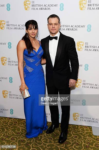 Matt Damon and Luciana Damon attend the official After Party Dinner for the EE British Academy Film Awards at The Grosvenor House Hotel on February...