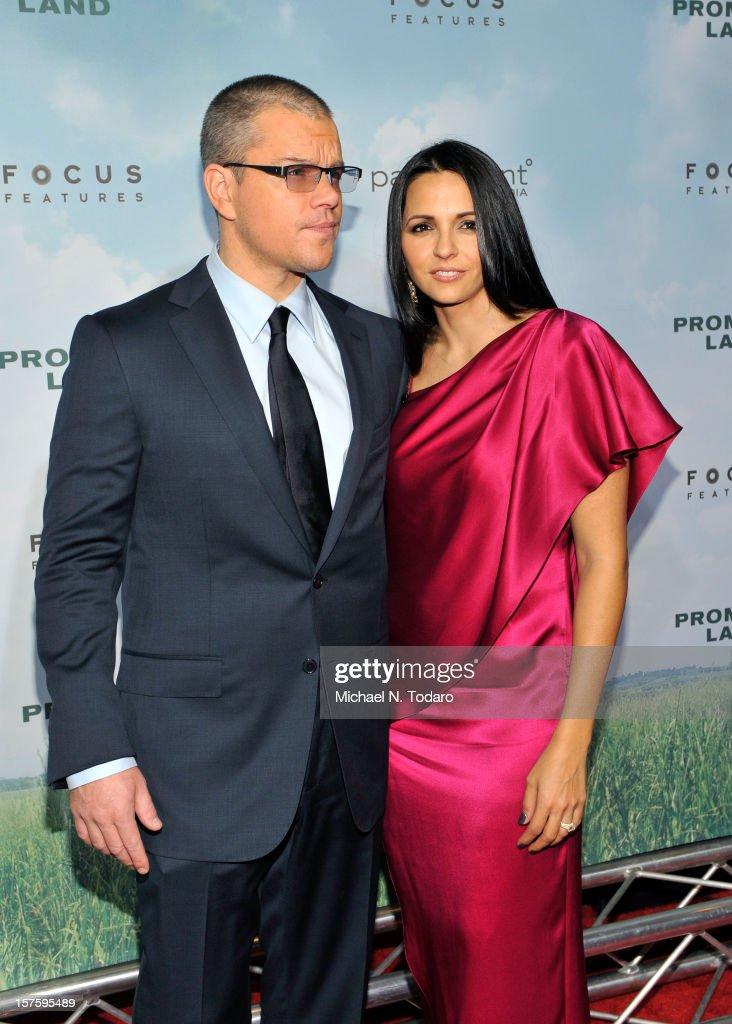 Matt Damon and Luciana Damon attend the 'Promised Land' premiere at AMC Loews Lincoln Square 13 on December 4, 2012 in New York City.