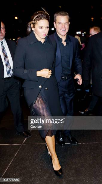 Matt Damon and Luciana Damon on January 15 2018 in New York City