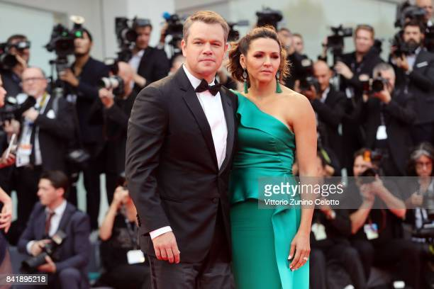 Matt Damon and Luciana Damon walk the red carpet ahead of the 'Suburbicon' screening during the 74th Venice Film Festival at Sala Grande on September...