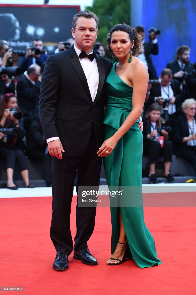 Matt Damon and Luciana Damon walk the red carpet ahead of the 'Suburbicon' screening during the 74th Venice Film Festival at Sala Grande on September 2, 2017 in Venice, Italy.