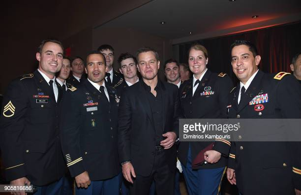 "Matt Damon and members of U.S Special Forces attend The ""12 Strong"" World Premiere after party on January 16, 2018 in New York City."