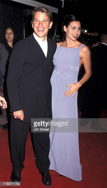Matt Damon and Minnie Driver during AFI Benefit Premiere of Good Will Hunting at Mann Bruin Theatre in Westwood California United States