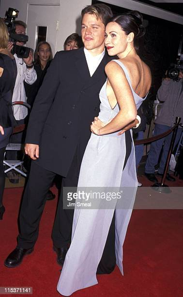 """Matt Damon and Minnie Driver during AFI Benefit Premiere of """"Good Will Hunting"""" at Mann Bruin Theatre in Westwood, California, United States."""