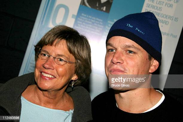 Matt Damon and mom Nancy Carlsson Paige during After Ashley OffBroadway Premiere After Party at Link in New York City New York United States