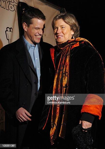 """Matt Damon and mother Nancy Carlsson-Paige during """"Stuck On You"""" - New York Premiere - Inside Arrivals at Clearview Chelsea Cinema in New York City,..."""