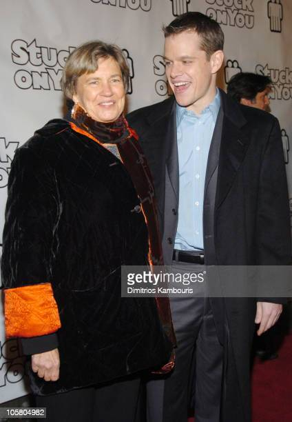 Matt Damon and mother Nancy CarlssonPaige during Stuck On You New York Premiere Inside Arrivals at Clearview Chelsea Cinema in New York City New York...