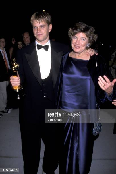 Matt Damon and mother Nancy during 1998 Vanity Fair Oscar Party Arrivals at Morton's Restaurant in Beverly Hills California United States