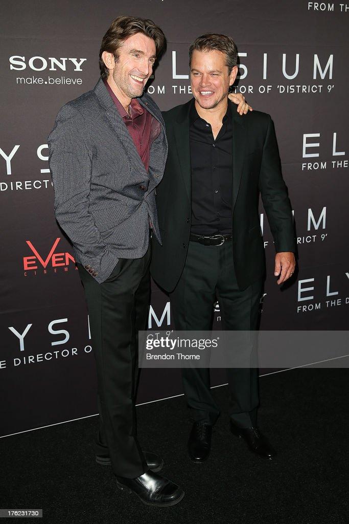 Matt Damon and Sharlto Copley arrives for the 'Elysium' Australian premiere at Event Cinemas George Street on August 12, 2013 in Sydney, Australia.