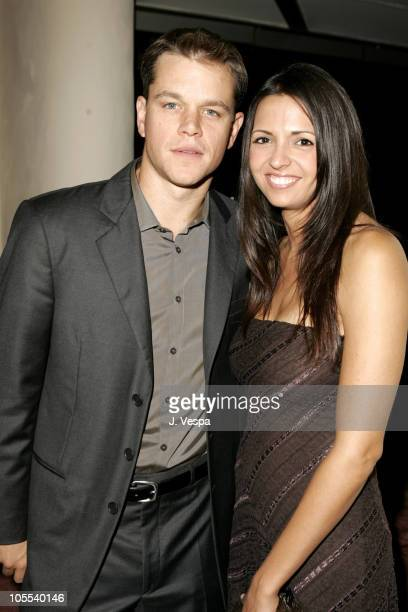 """Matt Damon and wife Luciana Barroso during 2005 Venice Film Festival - """"The Brothers Grimm"""" Party at Excelsior Hotel in Venice Lido, Italy."""