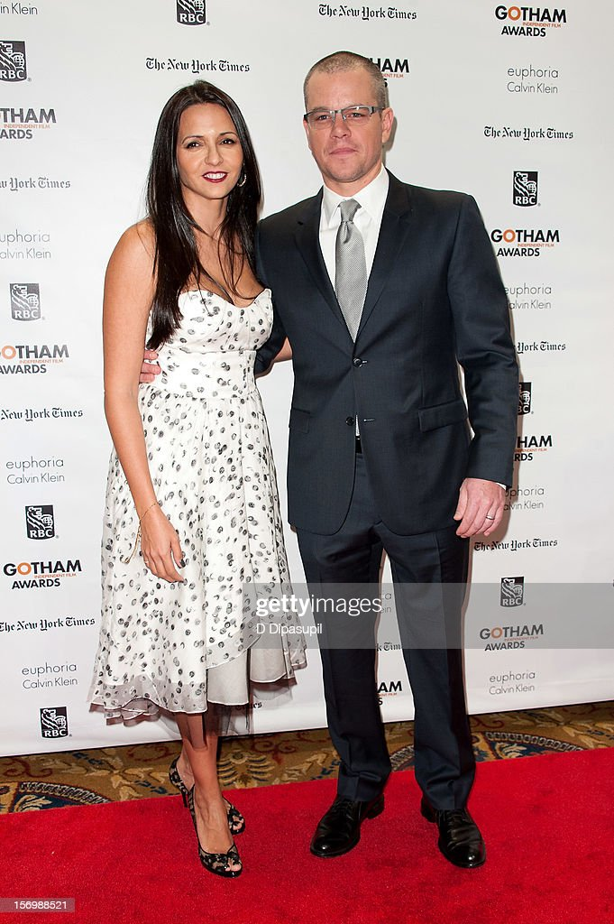 Matt Damon (R) and wife Luciana Damon attend the 22nd annual Gotham Independent Film awards at Cipriani, Wall Street on November 26, 2012 in New York City.
