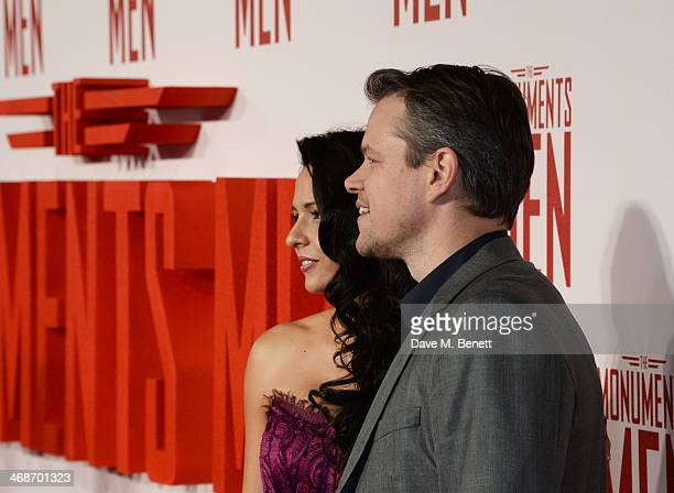 Matt Damon and wife Luciana Damon attend the UK Premiere of 'The Monuments Men' at Odeon Leicester Square on February 11 2014 in London England