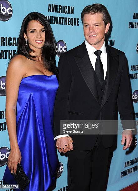 Matt Damon and Wife Luciana Damon attends the at American Cinematheque 24th Annual Award Presentation To Matt Damon at The Beverly Hilton hotel on...