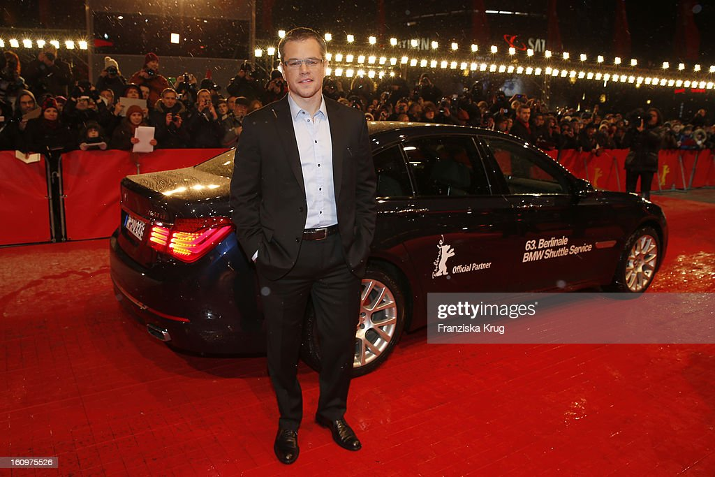 Matt Damon arrives at the 'Promised Land' Premiere - BMW at the 63rd Berlinale International Film Festival at the Berlinale Palast on February 8, 2013 in Berlin, Germany.