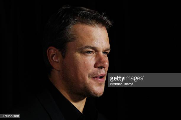 Matt Damon arrives for the Elysium Australian premiere at Event Cinemas George Street on August 12 2013 in Sydney Australia