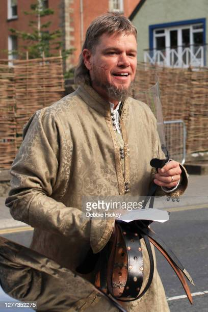 Matt Damon arrives on set to film 'The Last Duel' at on September 29, 2020 in Cahir, Co.Tipperary.