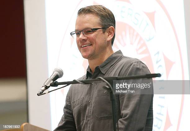 """Matt Damon attends Cal State Northridge's """"Education On The Edge"""" lecture series held at California State University Northridge on October 2, 2013 in..."""