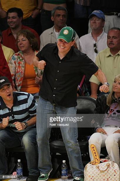 Matt Damon attends Game Five of the 2008 NBA Finals between the Boston Celtics and the Los Angeles Lakers on June 15 2008 at Staples Center in Los...