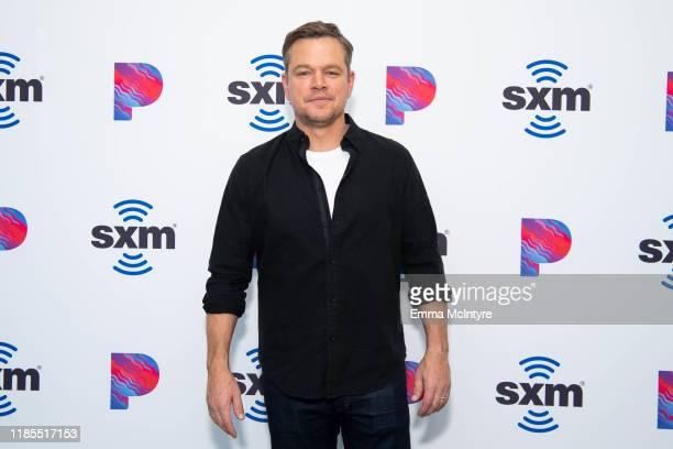 Matt Damon attends 'Matt Damon visits the SiriusXM Hollywood studios in Los Angeles' at SiriusXM Studios on November 04 2019 in Los Angeles California