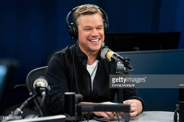 Matt Damon attends 'Matt Damon visits the SiriusXM Hollywood studios in Los Angeles' at SiriusXM Studios on November 04, 2019 in Los Angeles,...