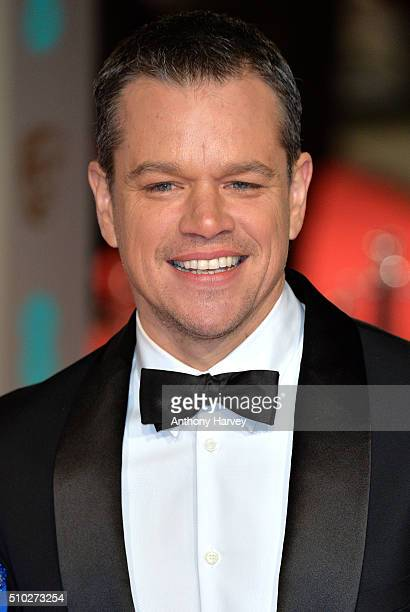 Matt Damon attends the EE British Academy Film Awards at The Royal Opera House on February 14 2016 in London England