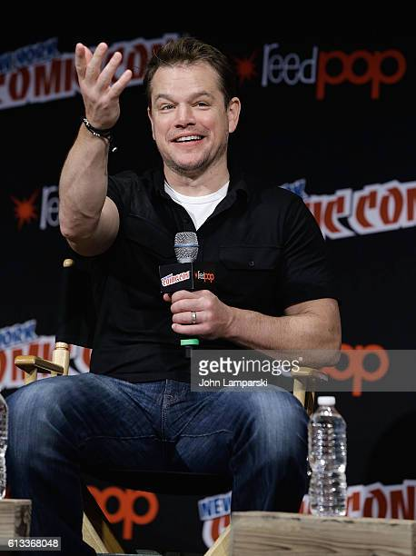 Matt Damon attends The Great Wall panel during the 2016 New York Comic Con day 3 on October 8 2016 in New York City