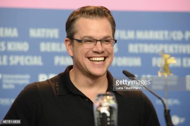 Matt Damon attends 'The Monuments Men' press conference during 64th Berlinale International Film Festival at Grand Hyatt Hotel on February 8, 2014 in...