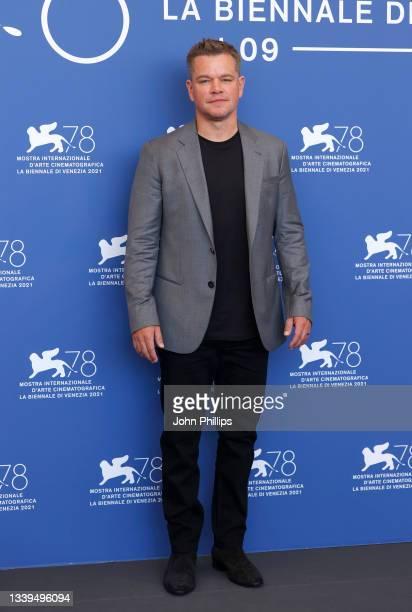 "Matt Damon attends the photocall of 20th Century Studios' movie ""The Last Duel"" during the 78th Venice International Film Festival on September 10,..."
