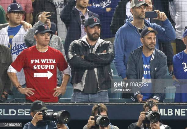 Matt Damon, Ben Affleck and Jimmy attend The Los Angeles Dodgers Game - World Series - Boston Red Sox v Los Angeles Dodgers - Game Five at Dodger...