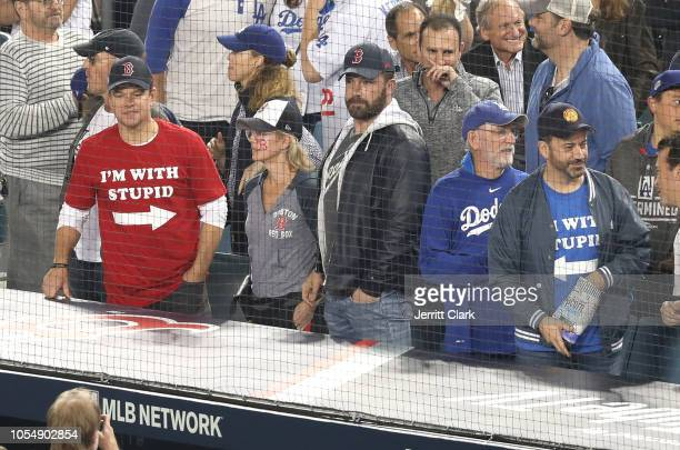 Matt Damon Ben Affleck and Jimmy attend The Los Angeles Dodgers Game World Series Boston Red Sox v Los Angeles Dodgers Game Five at Dodger Stadium on...