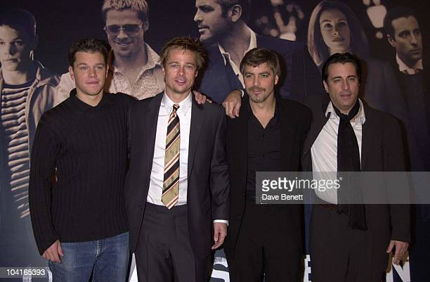 Matt Damon Brad Pitt George Clooney And Andy Garcia The Brat Pack Turned Up In London To Launch Their New Movie 'Oceans Ii' At The Dorchester Hotel...