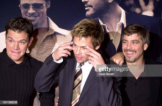 Matt Damon Brad Pitt George Clooney The Brat Pack Turned Up In London To Launch Their New Movie 'Oceans Ii' At The Dorchester Hotel London