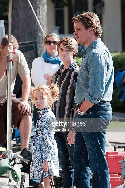 Matt Damon Colin Ford and Maggie Jones are seen on the movie set of 'We Bought a Zoo' on January 25 2011 in Los Angeles California