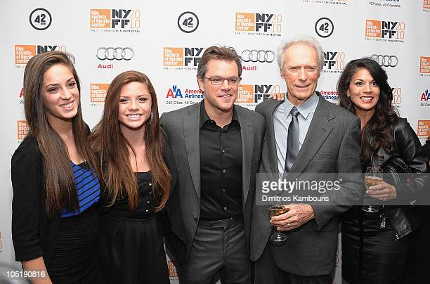 Matt Damon Director/ Producer Clint Eastwood and Dina Eastwood with Daughters attends the Hereafter premiere during the 48th New York Film Festival...