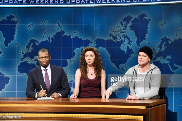 LIVE Matt Damon Episode 1755 Pictured Anchor Michael Che with Heidi Gardner as Angel and host Matt Damon as Tommy during Weekend Update in Studio 8H...