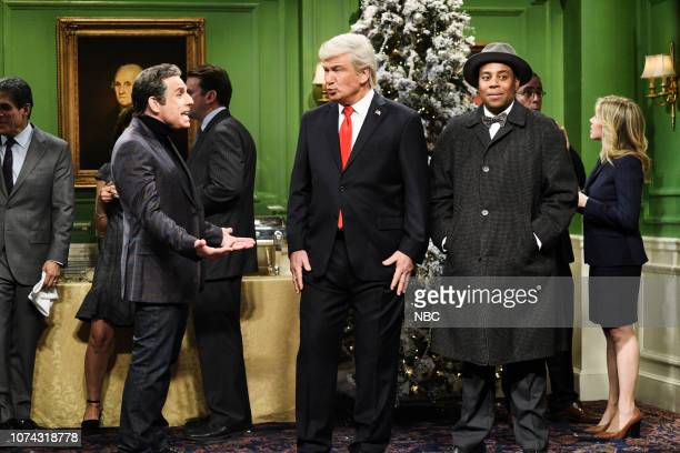 LIVE Matt Damon Episode 1755 Pictured Ben Stiller as Michael Cohen Alec Baldwin as Donald Trump and Kenan Thompson as Clarence the angel during the...