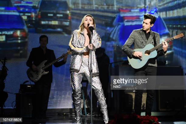 LIVE Matt Damon Episode 1755 Pictured Musical guest Mark Ronson Miley Cyrus perform in Studio 8H on Saturday December 15 2018