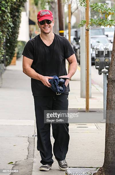 Matt Damon is seen leaving the gym wearing a New England Patriots hat two days before the Super Bowl on January 30 2015 in Los Angeles California