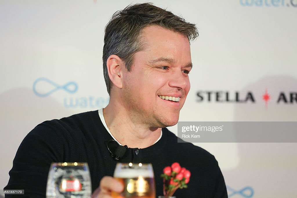 Matt Damon joins Stella Artois in honor of the Buy A Lady A Drink campaign during the Sundance Film Festival on January 21, 2017 in Park City, Utah.