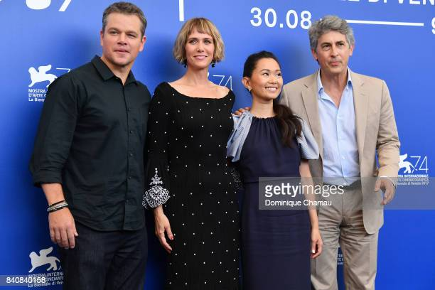 Matt Damon Kristen Wiig Hong Chau and Alexander Payne attend the 'Downsizing' photocall during the 74th Venice Film Festival at Sala Casino on August...