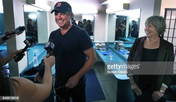Matt Damon left and his mother Nancy CarlssonPaige meet the press in the green room before the screening of the documentary Backpack Full of Cash at...