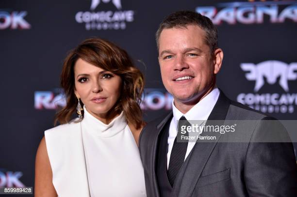 "Matt Damon, Luciana Barroso arrive at the Premiere Of Disney And Marvel's ""Thor: Ragnarok"" - Arrivals on October 10, 2017 in Los Angeles, California."