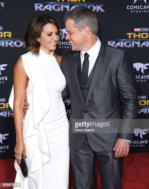 "Matt Damon, Luciana Barroso arrives at the Premiere Of Disney And Marvel's ""Thor: Ragnarok"" on October 10, 2017 in Los Angeles, California."