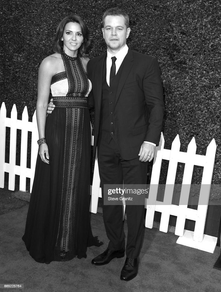 Matt Damon, Luciana Barroso arrives at the Premiere Of Paramount Pictures' 'Suburbicon' at Regency Village Theatre on October 22, 2017 in Westwood, California.