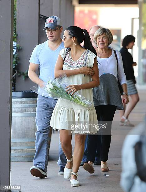 Matt Damon, Luciana Damon and his mother Nancy Carlsson-Paige are seen on October 08, 2014 in Los Angeles, California.