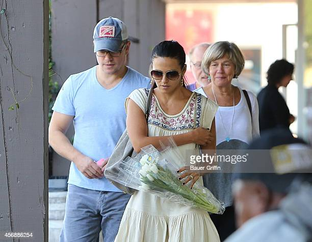 Matt Damon Luciana Damon and his mother Nancy CarlssonPaige are seen on October 08 2014 in Los Angeles California